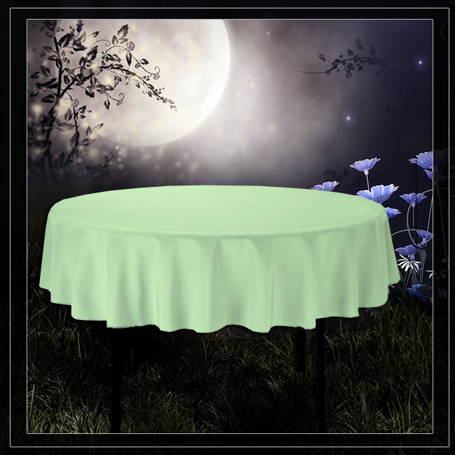 (90 Inch) Round Tablecloth LIGHT GREEN