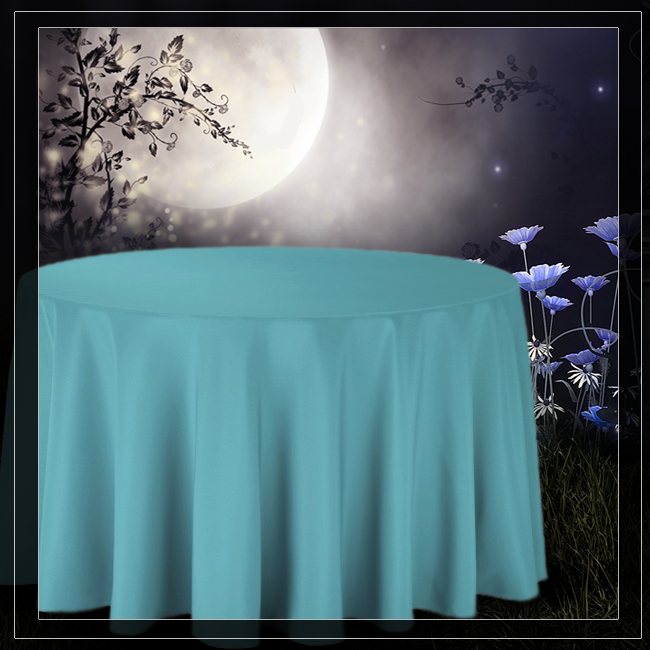Wonderful (108 Inch) Round Tablecloth: TURQUOISE